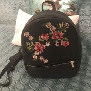 ASOS leather floral backpack